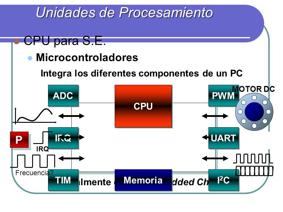 CPU para S.E. Microcontroladores Integra los diferentes componentes de un PC Realmente es un Embedded Chip Unidades de Procesamiento 0 1 0 0 1 1 ADC I
