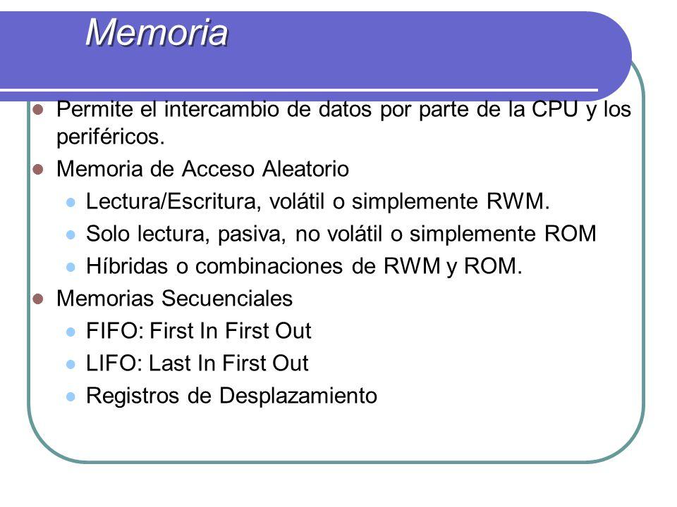 Permite el intercambio de datos por parte de la CPU y los periféricos. Memoria de Acceso Aleatorio Lectura/Escritura, volátil o simplemente RWM. Solo