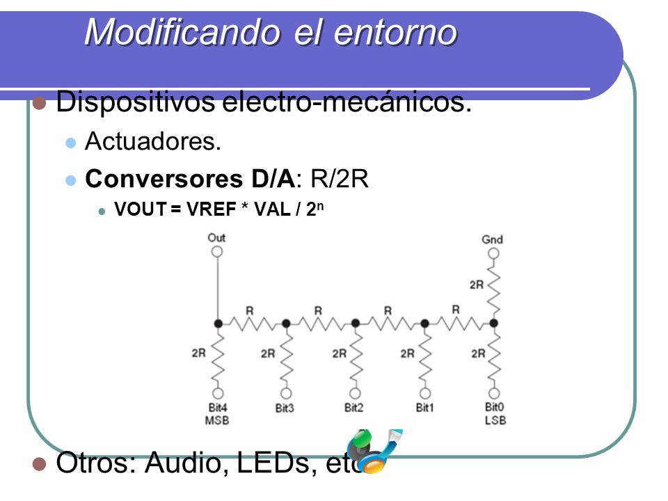 Dispositivos electro-mecánicos. Actuadores. Conversores D/A: R/2R VOUT = VREF * VAL / 2 n Otros: Audio, LEDs, etc. Modificando el entorno