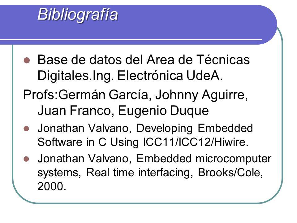 Bibliografía Base de datos del Area de Técnicas Digitales.Ing. Electrónica UdeA. Profs:Germán García, Johnny Aguirre, Juan Franco, Eugenio Duque Jonat