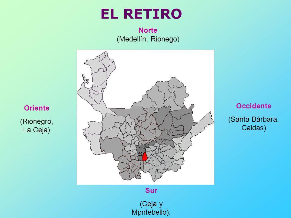 EL RETIRO Norte (Medellín, Rionego) Sur (Ceja y Mpntebello). Oriente (Rionegro, La Ceja) Occidente (Santa Bárbara, Caldas)