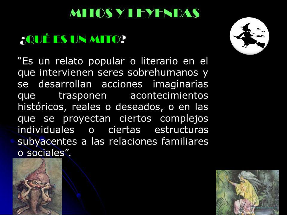 ¿QUÉ ES UN MITO? MITOS Y LEYENDAS Es un relato popular o literario en el que intervienen seres sobrehumanos y se desarrollan acciones imaginarias que