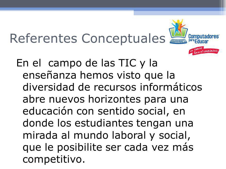 Referentes Conceptuales Según Kimmel et al.,1988 dice que el uso de las TIC en actividades de formación favorece la familiarización del profesorado con estas herramientas y mejora sus recursos didácticos.