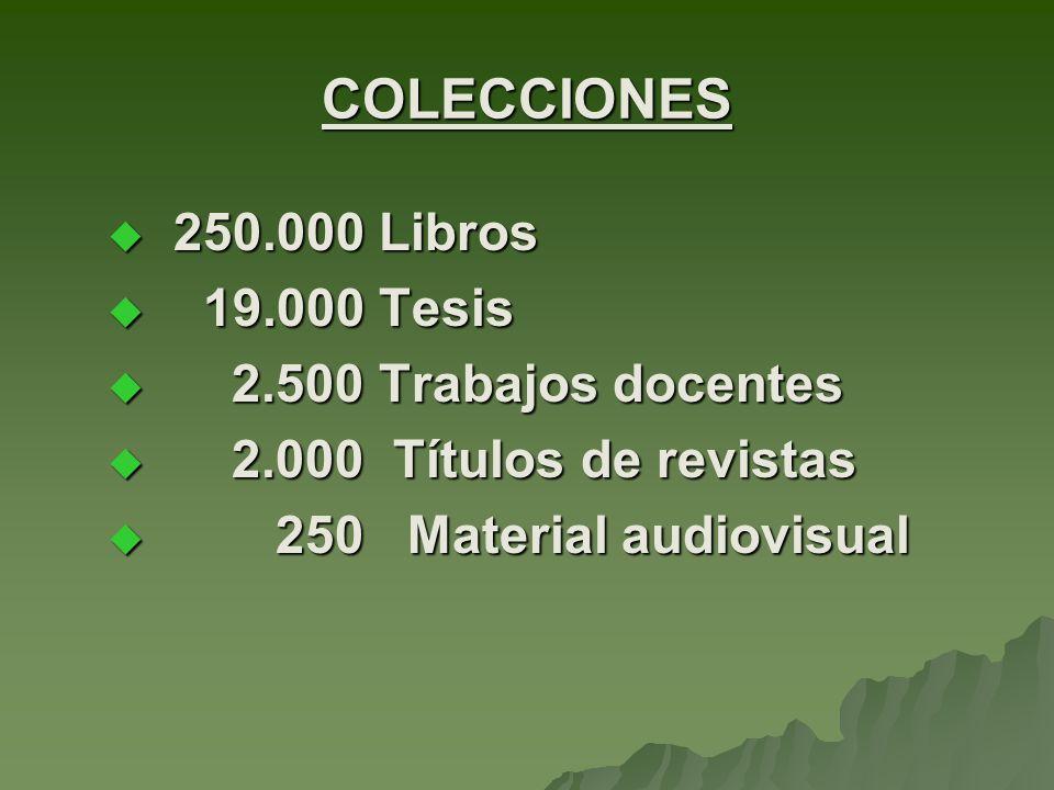 250.000 Libros 250.000 Libros 19.000 Tesis 19.000 Tesis 2.500 Trabajos docentes 2.500 Trabajos docentes 2.000 Títulos de revistas 2.000 Títulos de revistas 250 Material audiovisual 250 Material audiovisual COLECCIONES