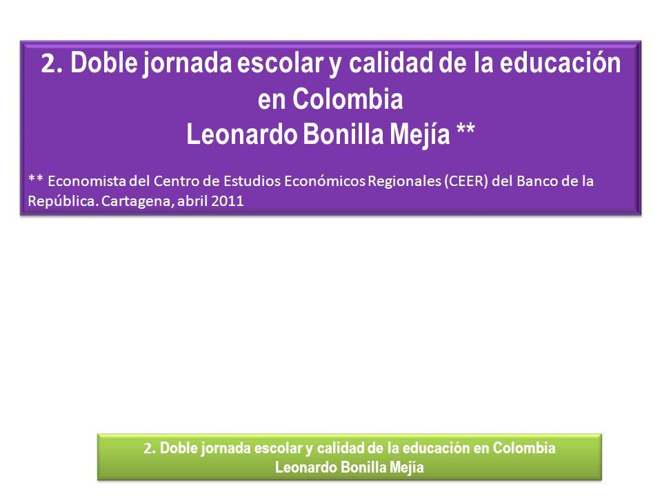 2. Doble jornada escolar y calidad de la educación en Colombia Leonardo Bonilla Mejía ** ** Economista del Centro de Estudios Económicos Regionales (C