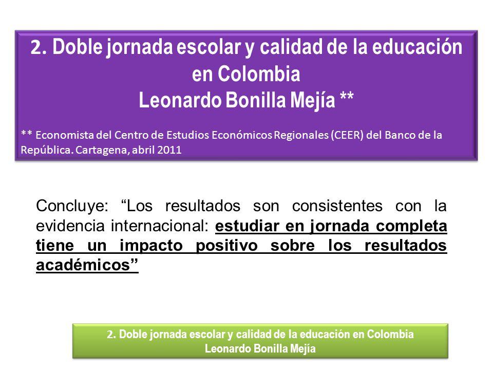 Concluye: Los resultados son consistentes con la evidencia internacional: estudiar en jornada completa tiene un impacto positivo sobre los resultados académicos 2.
