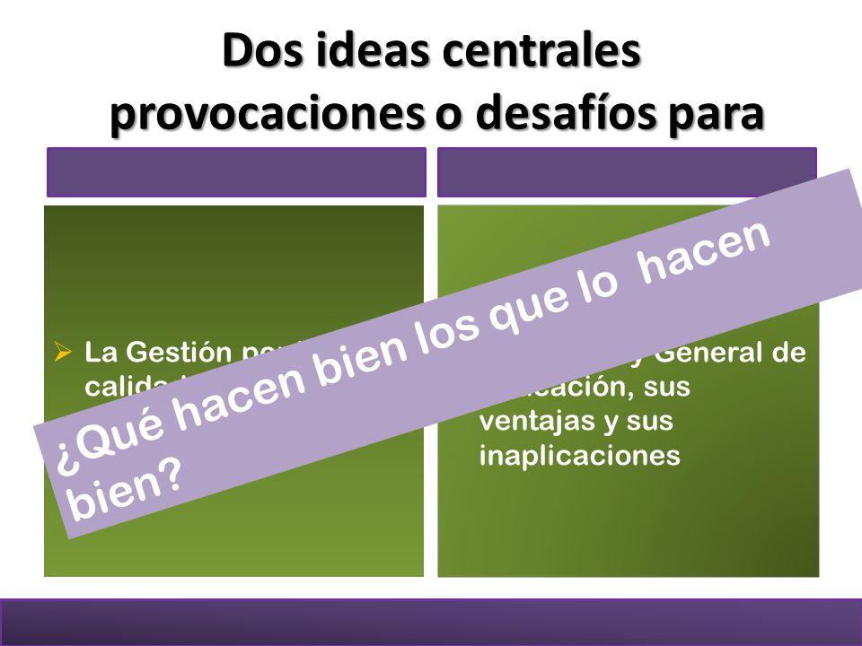 Dos ideas centrales provocaciones o desafíos para La Gestión por la calidad en el sector educativo colombiano Nuestra Ley General de Educación, sus ventajas y sus inaplicaciones ¿Qué hacen bien los que lo hacen bien