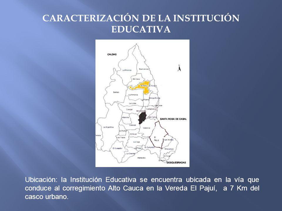 CARACTERIZACIÓN DE LA INSTITUCIÓN EDUCATIVA Ubicación: la Institución Educativa se encuentra ubicada en la vía que conduce al corregimiento Alto Cauca