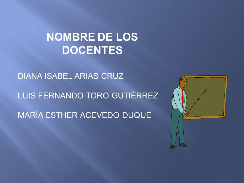 NOMBRE DE LOS DOCENTES DIANA ISABEL ARIAS CRUZ LUIS FERNANDO TORO GUTIÉRREZ MARÍA ESTHER ACEVEDO DUQUE