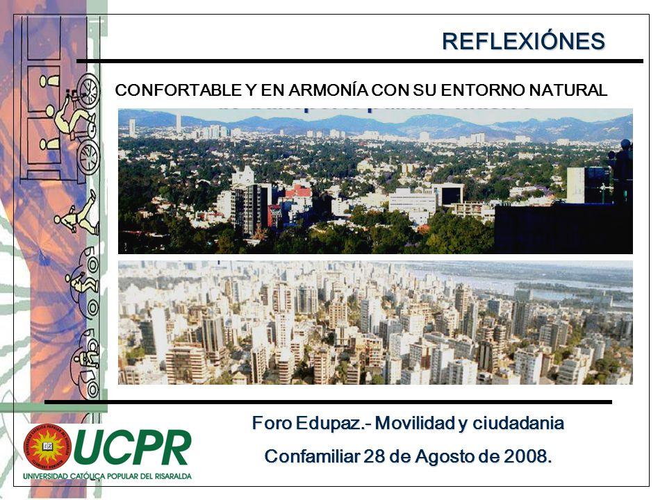 REFLEXIÓNES Foro Edupaz.- Movilidad y ciudadania Confamiliar 28 de Agosto de 2008.