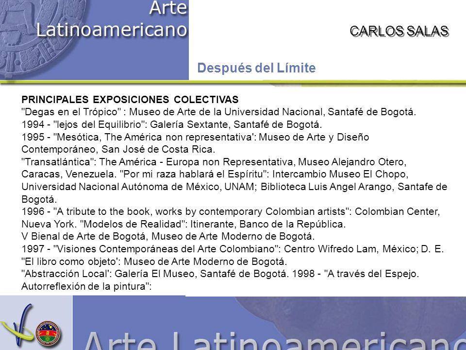 CARLOS SALAS Después del Límite PRINCIPALES EXPOSICIONES COLECTIVAS Degas en el Trópico : Museo de Arte de la Universidad Nacional, Santafé de Bogotá.