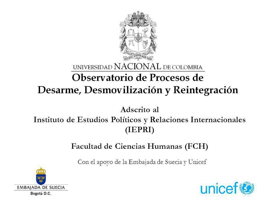 Adscrito al Instituto de Estudios Políticos y Relaciones Internacionales (IEPRI) Facultad de Ciencias Humanas (FCH) Con el apoyo de la Embajada de Suecia y Unicef