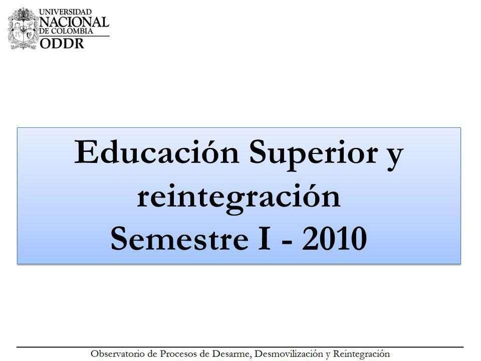 Educación superior en las políticas nacionales y la reintegración