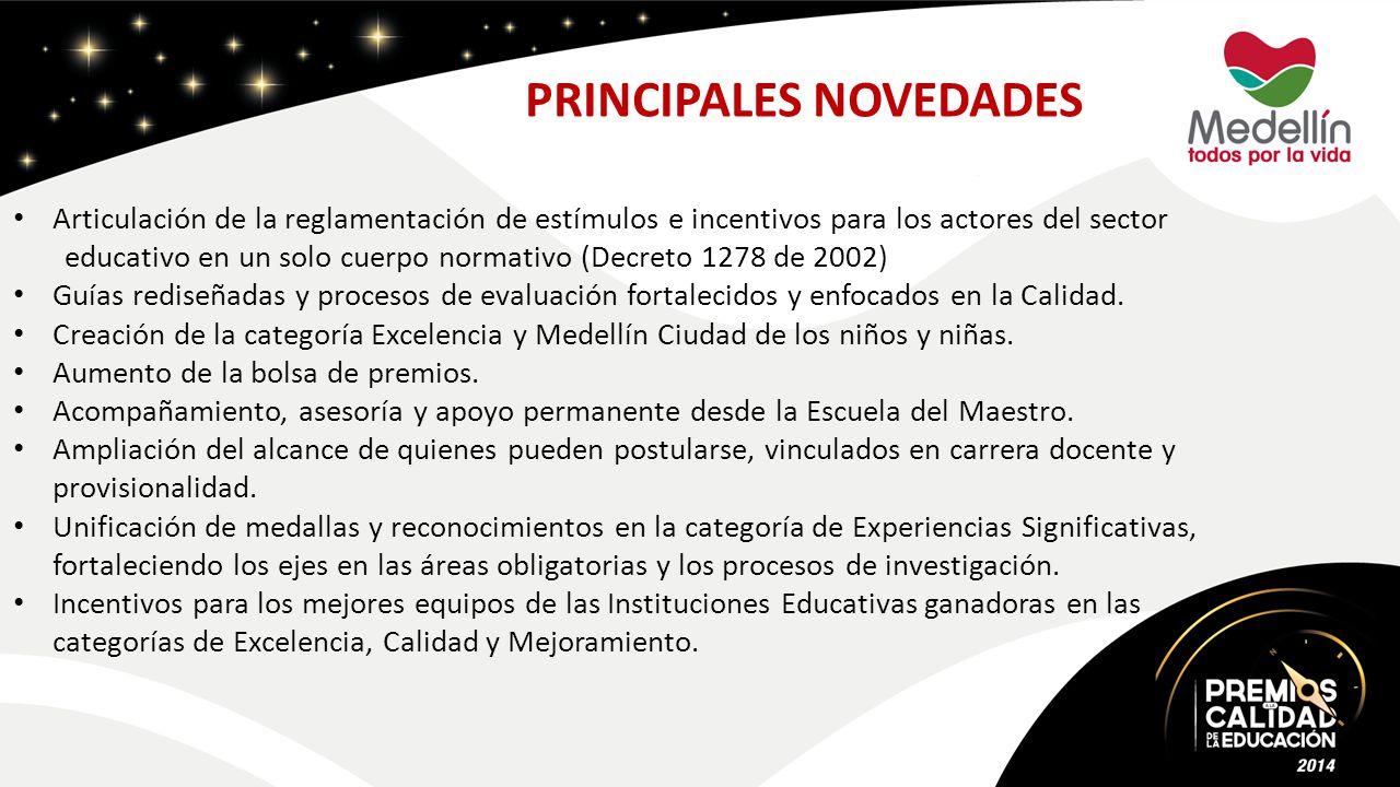 PRINCIPALES NOVEDADES Articulación de la reglamentación de estímulos e incentivos para los actores del sector educativo en un solo cuerpo normativo (Decreto 1278 de 2002) Guías rediseñadas y procesos de evaluación fortalecidos y enfocados en la Calidad.