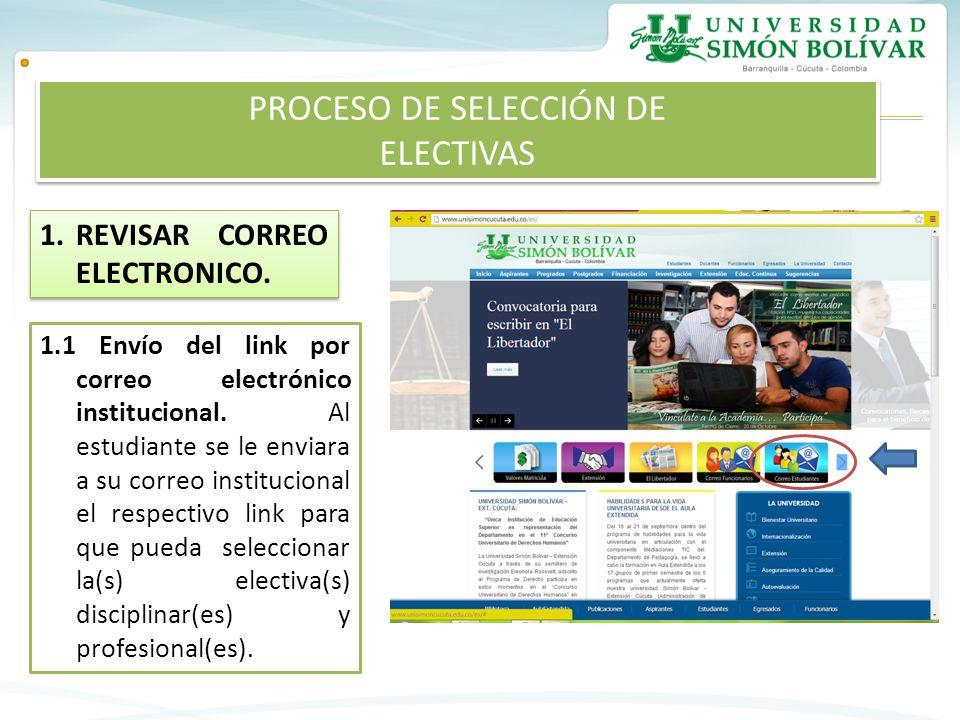 1.REVISAR CORREO ELECTRONICO.1.1 Envío del link por correo electrónico institucional.