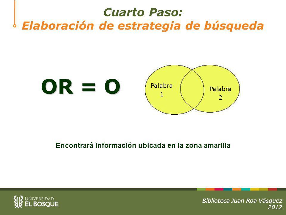 OR = O Encontrará información ubicada en la zona amarilla Palabra 1 Palabra 2 Biblioteca Juan Roa Vásquez 2012 Cuarto Paso: Elaboración de estrategia de búsqueda