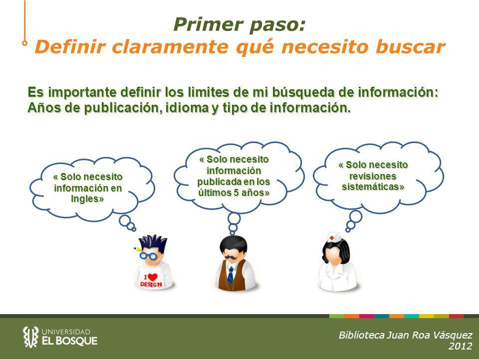 Es importante definir los limites de mi búsqueda de información: Años de publicación, idioma y tipo de información.