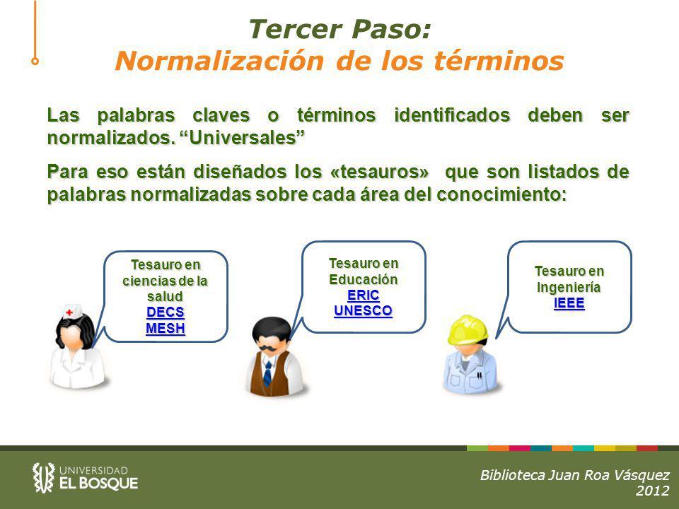 Tercer Paso: Normalización de los términos Las palabras claves o términos identificados deben ser normalizados.