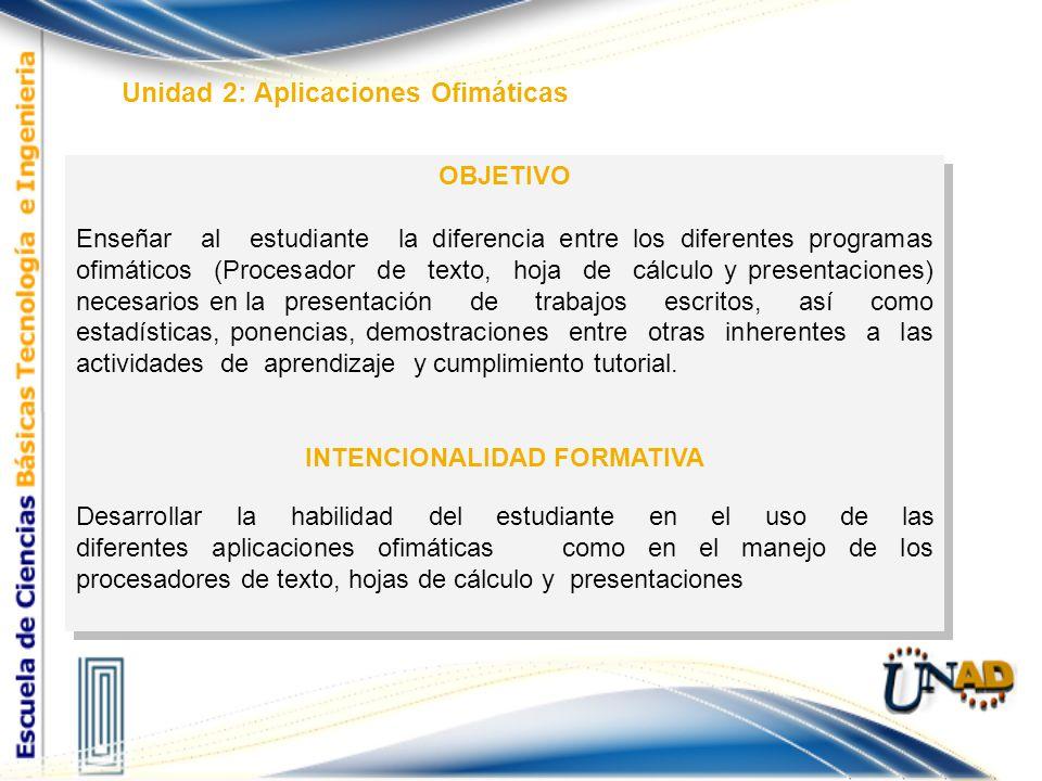Unidad 2: Aplicaciones Ofimáticas OBJETIVO Enseñar al estudiante la diferencia entre los diferentes programas ofimáticos (Procesador de texto, hoja de
