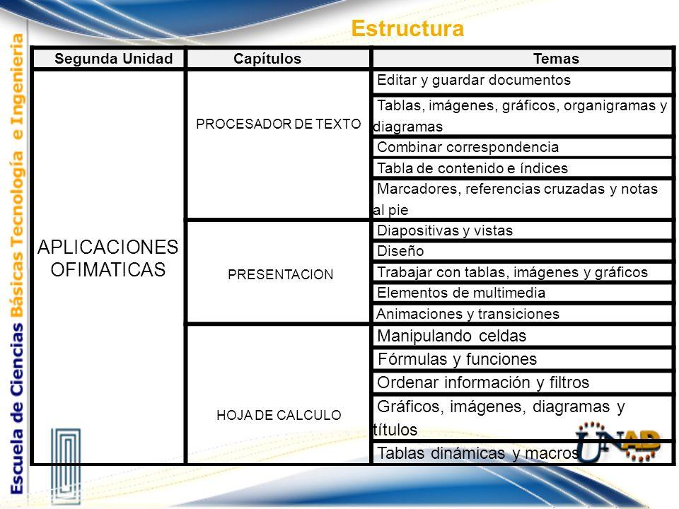 Estructura Segunda UnidadCapítulosTemas APLICACIONES OFIMATICAS PROCESADOR DE TEXTO Editar y guardar documentos Tablas, imágenes, gráficos, organigram