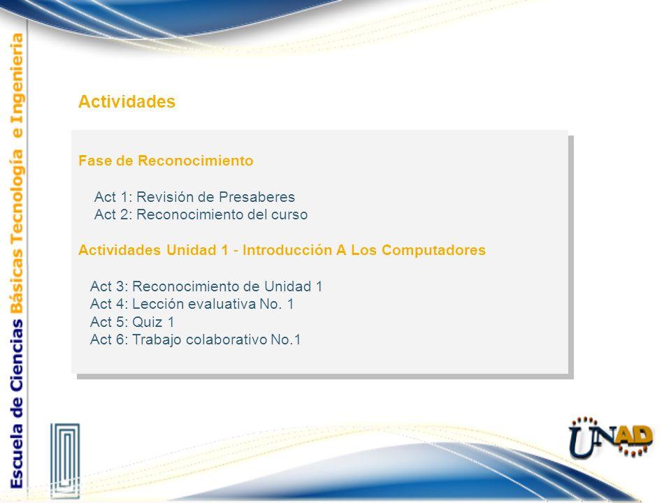 Fase de Reconocimiento Act 1: Revisión de Presaberes Act 2: Reconocimiento del curso Actividades Unidad 1 - Introducción A Los Computadores Act 3: Rec