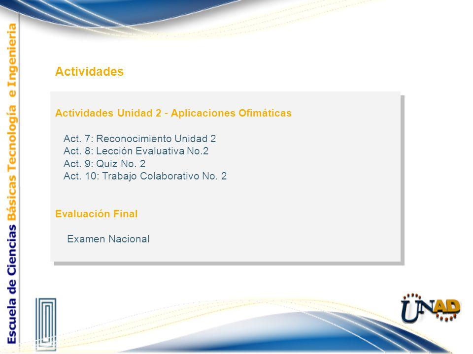 Actividades Unidad 2 - Aplicaciones Ofimáticas Act. 7: Reconocimiento Unidad 2 Act. 8: Lección Evaluativa No.2 Act. 9: Quiz No. 2 Act. 10: Trabajo Col