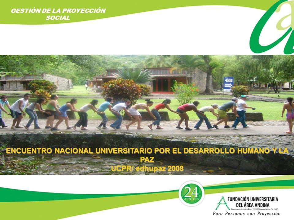 ENCUENTRO NACIONAL UNIVERSITARIO POR EL DESARROLLO HUMANO Y LA PAZ UCPR/ edhupaz 2008 GESTIÒN DE LA PROYECCIÓN SOCIAL