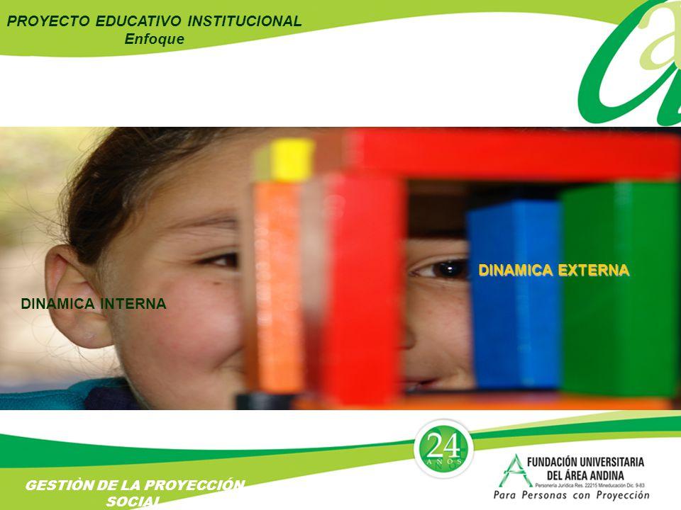 PROYECTO EDUCATIVO INSTITUCIONAL Enfoque DINAMICA INTERNA DINAMICA EXTERNA GESTIÒN DE LA PROYECCIÓN SOCIAL