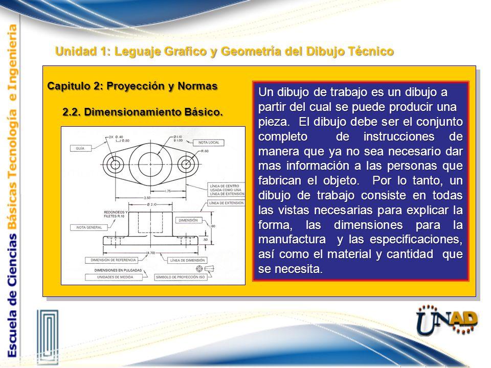 Capitulo 2: Proyección y Normas 2.1. Proyección y Normas. Unidad 1: Leguaje Grafico y Geometría del Dibujo Técnico En la misma unidad, se suministran