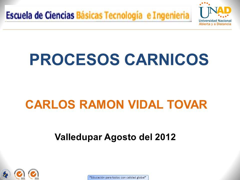 Educación para todos con calidad global PROCESOS CARNICOS Valledupar Agosto del 2012 CARLOS RAMON VIDAL TOVAR