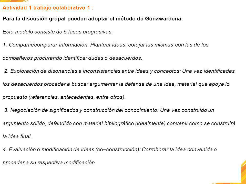 Actividad 1 trabajo colaborativo 1 : Para la discusión grupal pueden adoptar el método de Gunawardena: Este modelo consiste de 5 fases progresivas: 1.
