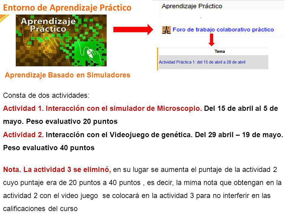 FI-GQ-GCMU-004-015 V. 001-17-04-2013 Aprendizaje Basado en Simuladores Consta de dos actividades: Actividad 1. Interacción con el simulador de Microsc