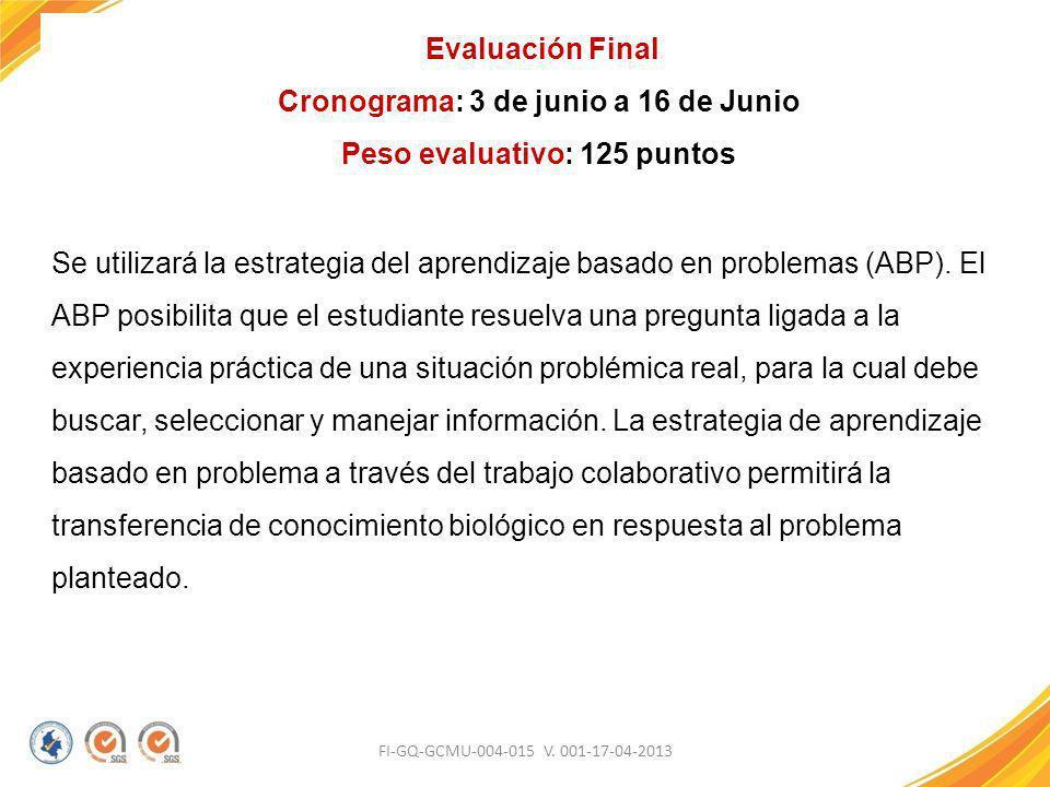 FI-GQ-GCMU-004-015 V. 001-17-04-2013 Evaluación Final Cronograma: 3 de junio a 16 de Junio Peso evaluativo: 125 puntos Se utilizará la estrategia del