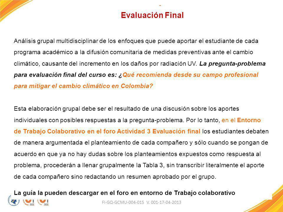 FI-GQ-GCMU-004-015 V. 001-17-04-2013 Evaluación Final Análisis grupal multidisciplinar de los enfoques que puede aportar el estudiante de cada program