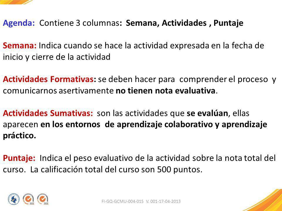 FI-GQ-GCMU-004-015 V. 001-17-04-2013 Agenda: Contiene 3 columnas: Semana, Actividades, Puntaje Semana: Indica cuando se hace la actividad expresada en
