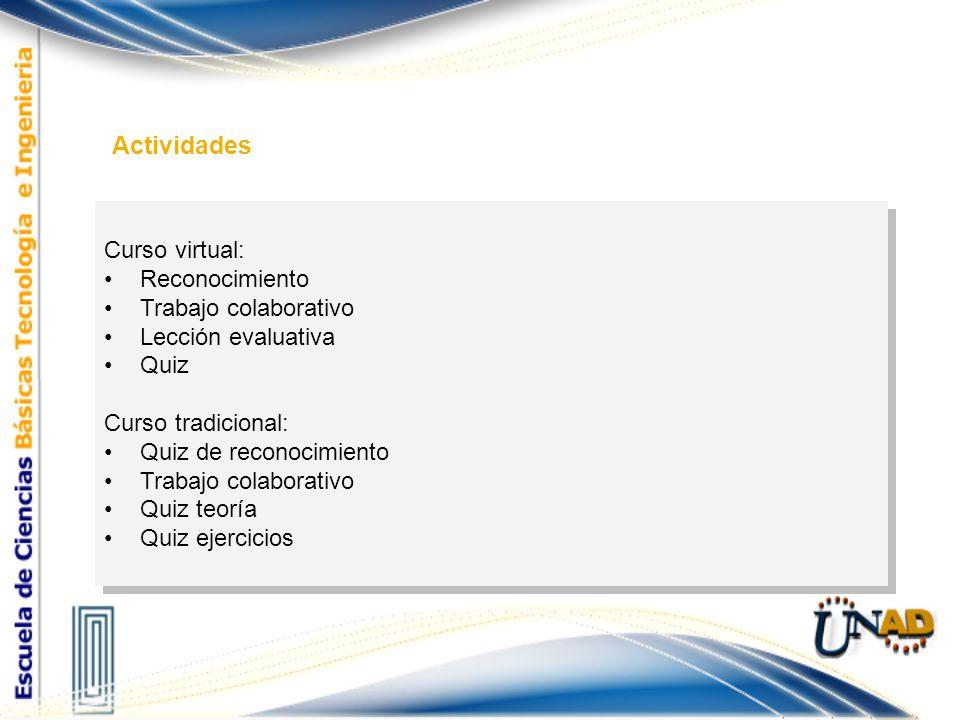 Curso virtual: Reconocimiento Trabajo colaborativo Lección evaluativa Quiz Curso tradicional: Quiz de reconocimiento Trabajo colaborativo Quiz teoría