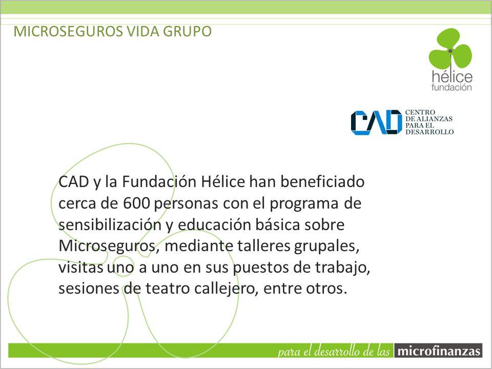 CAD y la Fundación Hélice han beneficiado cerca de 600 personas con el programa de sensibilización y educación básica sobre Microseguros, mediante tal