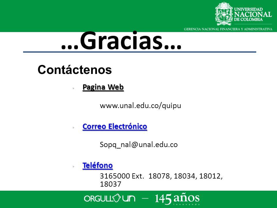 …Gracias… Pagina Web Pagina Web www.unal.edu.co/quipu Correo Electrónico Correo Electrónico Correo Electrónico Correo Electrónico Sopq_nal@unal.edu.co Teléfono Teléfono Teléfono 3165000 Ext.