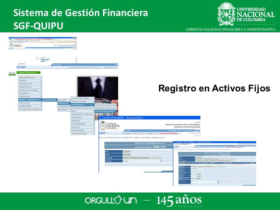Registro en Activos Fijos Sistema de Gestión Financiera SGF-QUIPU