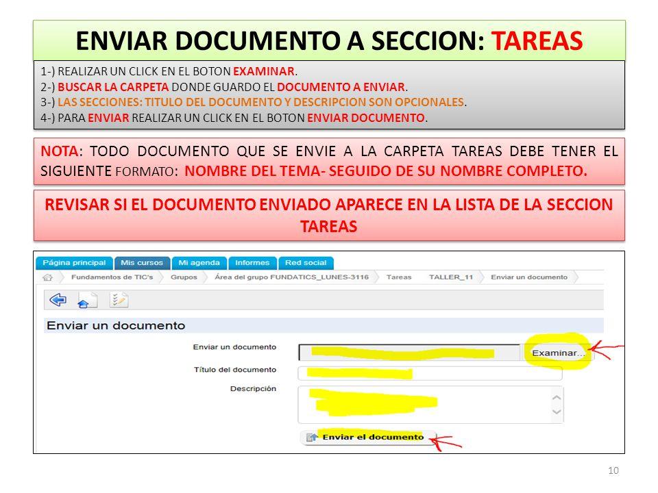ENVIAR DOCUMENTO A SECCION: TAREAS 10 1-) REALIZAR UN CLICK EN EL BOTON EXAMINAR.