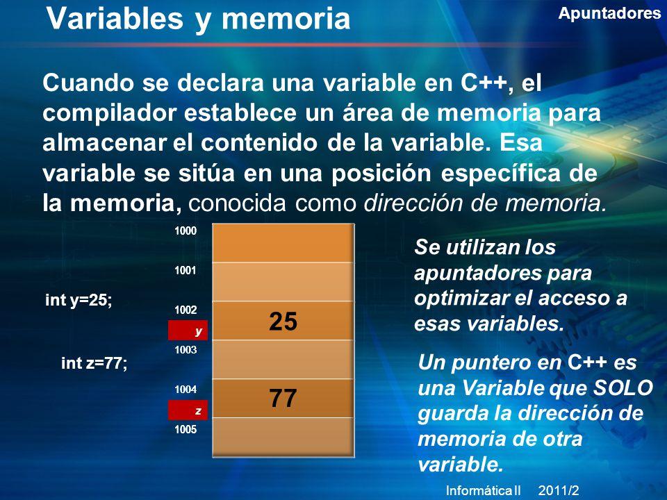 Variables y memoria Apuntadores Cuando se declara una variable en C++, el compilador establece un área de memoria para almacenar el contenido de la variable.