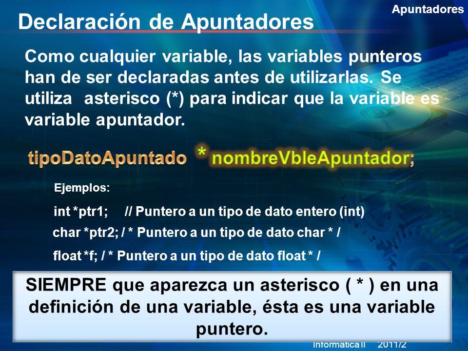 Declaración de Apuntadores Apuntadores Como cualquier variable, las variables punteros han de ser declaradas antes de utilizarlas.