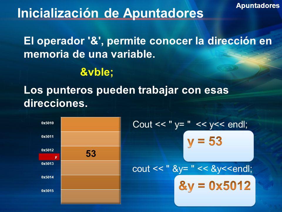 Inicialización de Apuntadores Apuntadores El operador & , permite conocer la dirección en memoria de una variable.