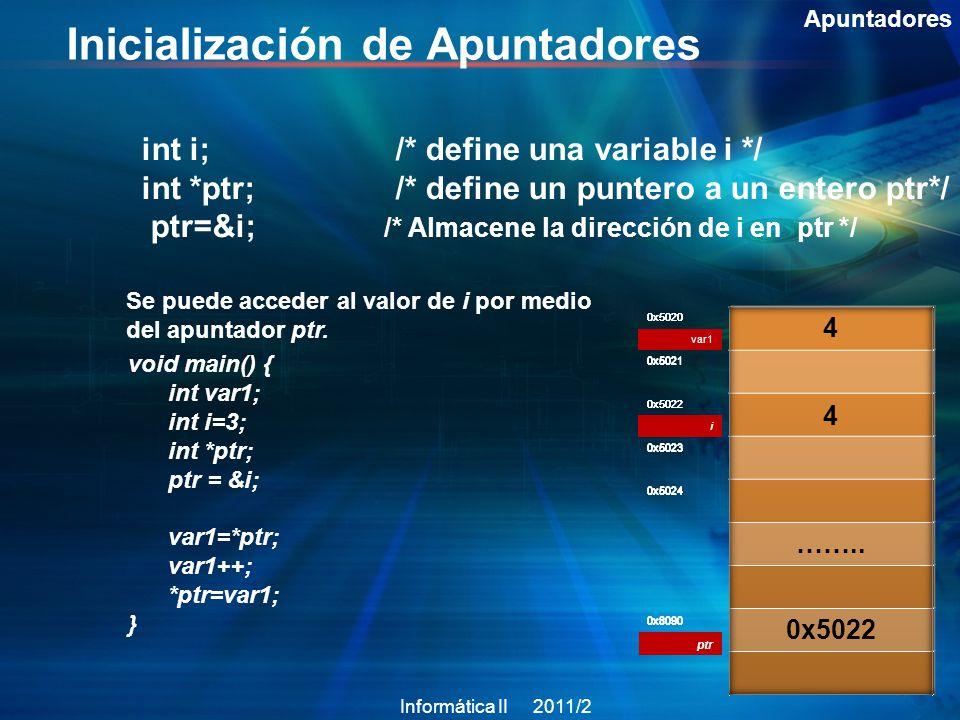 Inicialización de Apuntadores Apuntadores int i; /* define una variable i */ int *ptr; /* define un puntero a un entero ptr*/ ptr=&i; /* Almacene la dirección de i en ptr */ 0x5020 var1 0x5021 0x5022 0x5023 0x5024 0x8090 Se puede acceder al valor de i por medio del apuntador ptr.