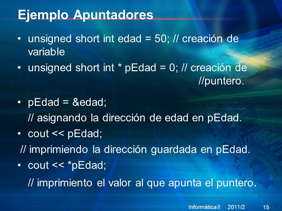 15 unsigned short int edad = 50; // creación de variable unsigned short int * pEdad = 0; // creación de //puntero.