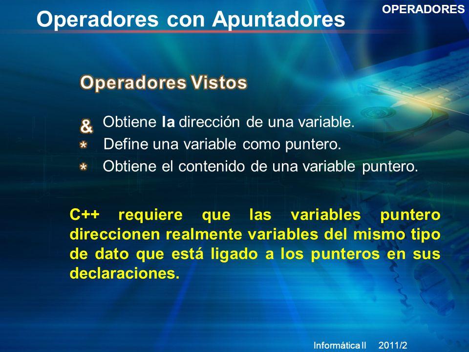 Operadores con Apuntadores OPERADORES Obtiene la dirección de una variable.