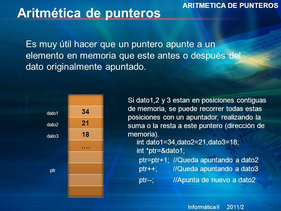 Aritmética de punteros ARITMETICA DE PUNTEROS Es muy útil hacer que un puntero apunte a un elemento en memoria que este antes o después del dato originalmente apuntado.