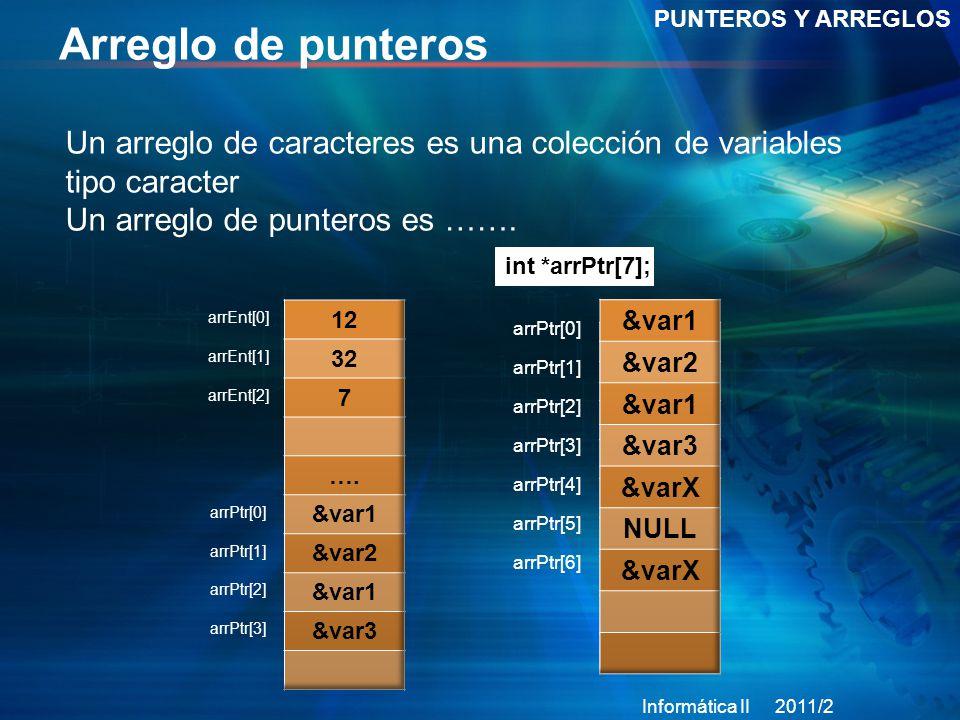 Arreglo de punteros PUNTEROS Y ARREGLOS Un arreglo de caracteres es una colección de variables tipo caracter Un arreglo de punteros es …….