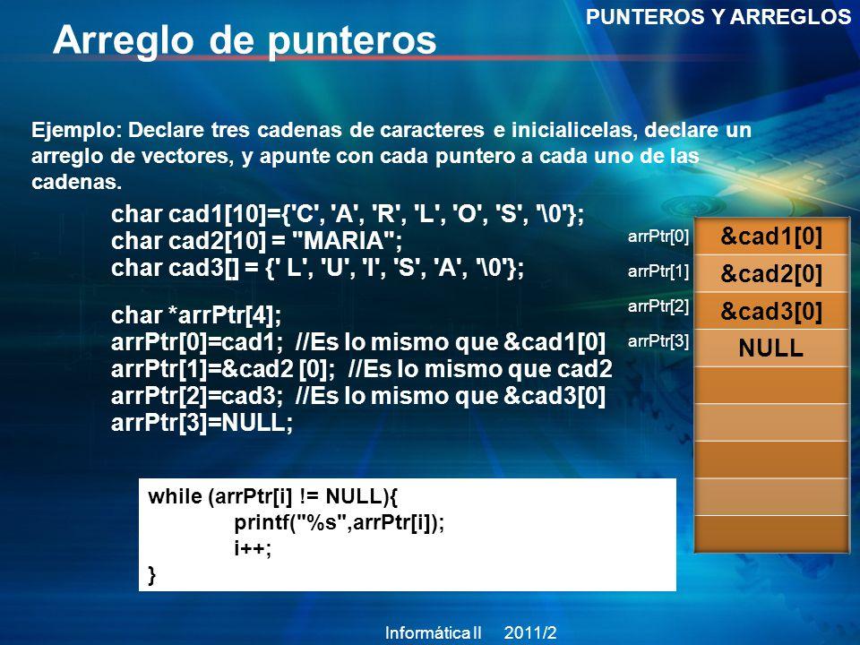 Arreglo de punteros PUNTEROS Y ARREGLOS Ejemplo: Declare tres cadenas de caracteres e inicialicelas, declare un arreglo de vectores, y apunte con cada puntero a cada uno de las cadenas.