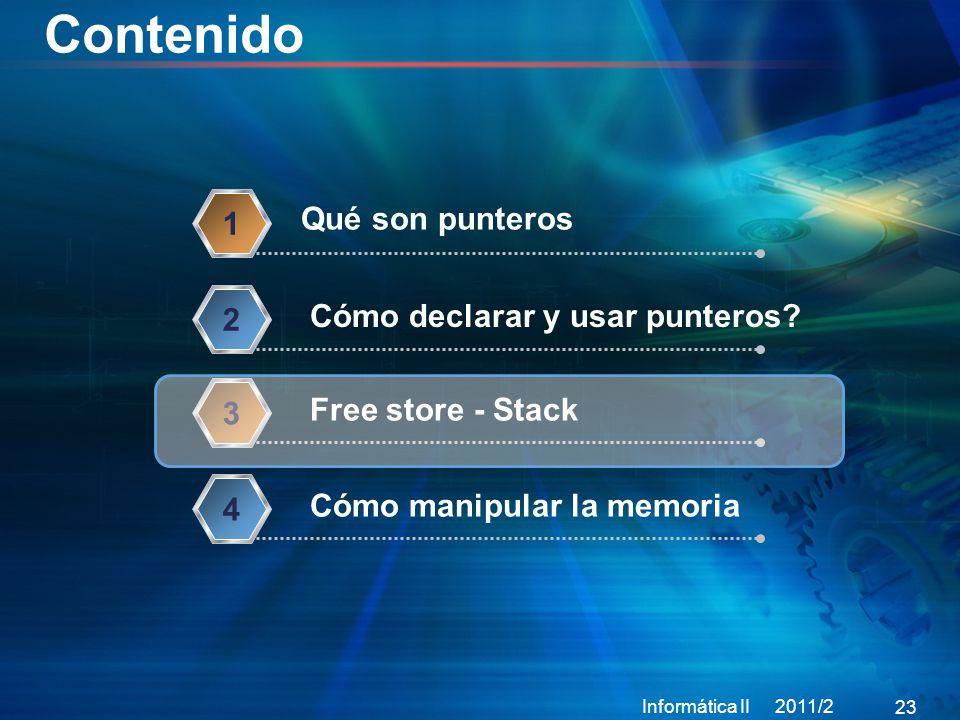 Contenido Informática II 2011/2 23 Qué son punteros 1 Cómo declarar y usar punteros.